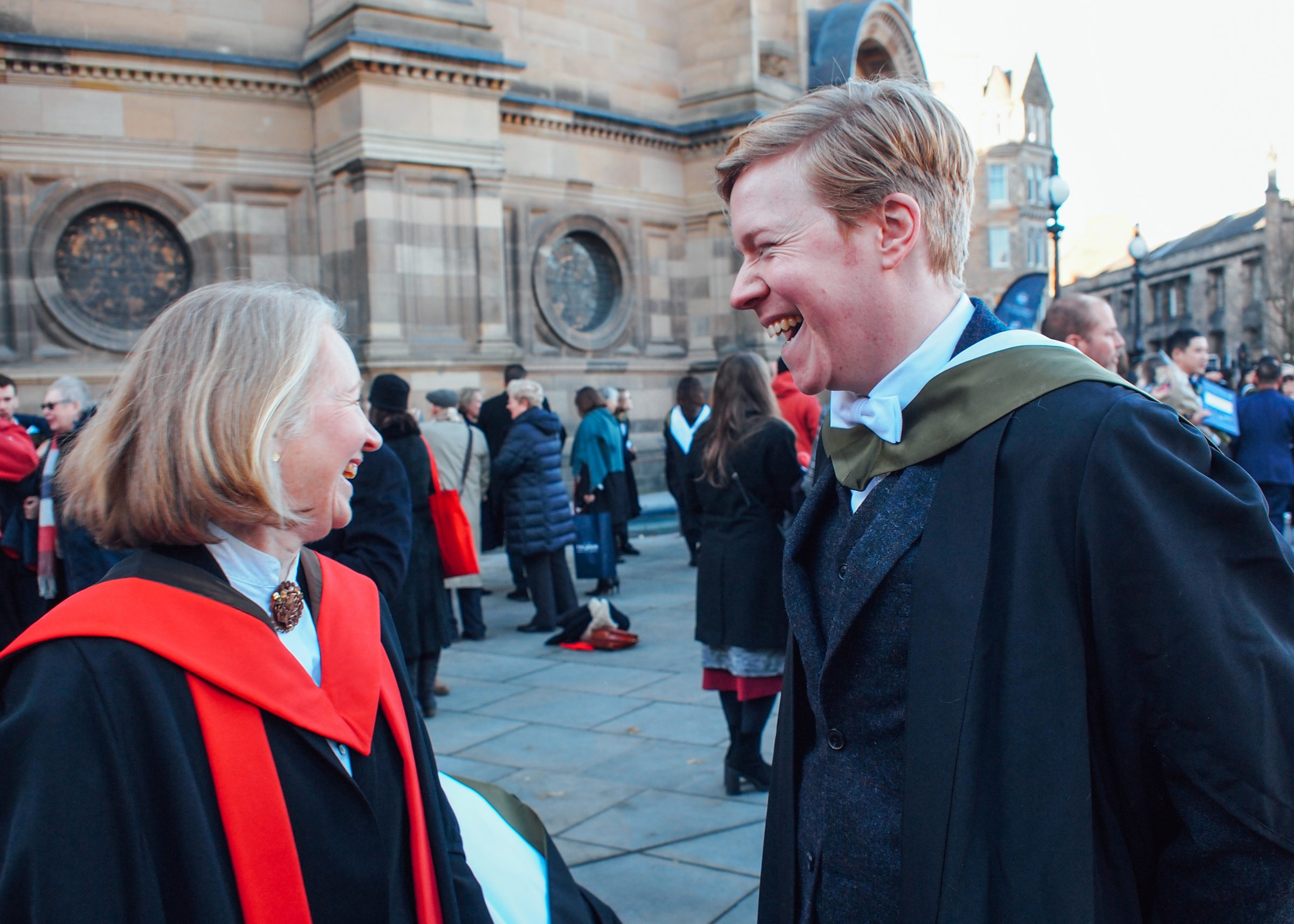 Neil Cameron, one of the first students to graduate from the programme, with Catharine at graduation.